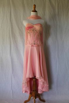 Alyce Designs Ombre Pink Silk Corset Dress w/ High Low Hem & Shawl 4 (0-2)