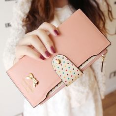 new 2014 hot  purse women fashion color block dot bow women's long design female wallet womens designer wallets clutch purses