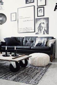 old leather couch, coffee table and ottomon