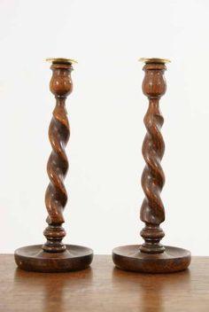 Woodenware Pair Of Vintage Oak Barley Twist Candlesticks A Complete Range Of Specifications