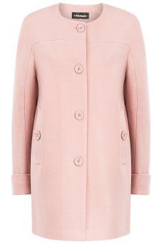 Розовое пальто без воротника Poncho Coat, Sweater Scarf, Sweater Coats, Coat Dress, Blazers For Women, Coats For Women, Winter Outfits, Casual Outfits, Mode Rose