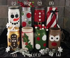 Mason Jar Christmas Characters and Figures Jars are painted according to the famous Christmas characters. There's snowman, winter berries, Santa, peppermint, gingerbread, Holly and Rudolph.