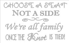 Choose a seat not a side custom wedding decal 22 x 13 by vinylexpress on Etsy