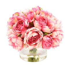 Pink peonies bunch together in the Creative Displays & Designs Artificial Peony Bunch in Glass Vase for a lively floral display. This elegant artificial. Fake Flower Arrangements, Peony Arrangement, Peonies Centerpiece, Fake Flowers, Flower Centerpieces, Flower Vases, Silk Flowers, Cactus Flower, Exotic Flowers