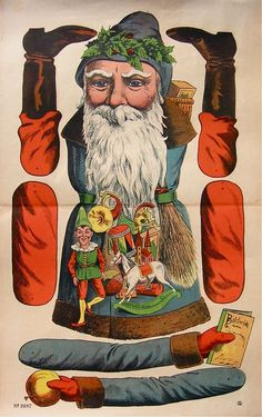 Huge Santa as Jumping Jack Paper Puppets, Paper Toys, Christmas Paper, Christmas Crafts, Xmas, Victorian Christmas, Vintage Christmas, Primitive Santa, Puppet Crafts