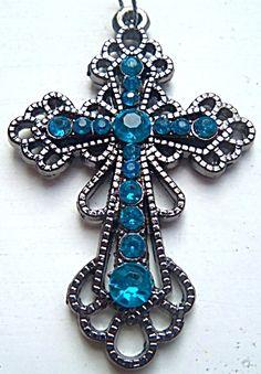 $29 Large Turquoise Blue Rhinestone Filigree Cross Pendant  (Image1)
