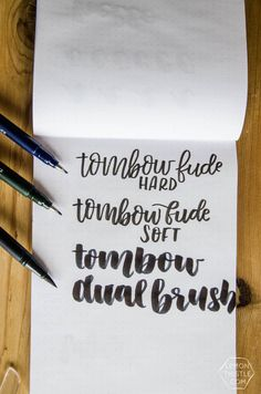 Today I'm excited to be sharing my very top favorite brush pens for hand lettering. I find these to be the best brush pens for the style of lettering I do and although I've tried SO many, I wanted to make a post that focuses on only the ones I love the mo Best Brush Pens, Tombow Dual Brush Pen, Creative Crafts, Diy And Crafts, Cute Fonts, Brush Lettering, Cool Diy Projects, Word Art, Letters
