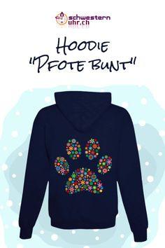 Flauschiger Hoodie mit Katzenmotiv.  Warme Jacke für die kühlere Jahreszeit. Mit Reissverschluss und 2 Taschen vorne. Jetzt bei schwesternuhr.ch bestellen. Schweizer Unternehmen. #schwesternuhrch #hoodie #sweatjacke #katze Hoodies, Sweatshirts, Graphic Sweatshirt, Sweaters, Fashion, Swiss Guard, Business, Hang In There, Products