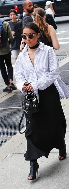 Margaret Zhang in Dion Lee top, C/MEO Collective skirt, Isa Wan bag, Tony Bianco shoes and Greyhound Original sunglasses