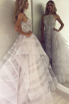 Unique beads tulle long prom dress, tulle evening dress, customized service and Rush order are available Princess Prom Dresses, Pretty Prom Dresses, Backless Prom Dresses, Tulle Prom Dress, Grad Dresses, Ruffle Dress, Wedding Dresses, Maxi Dresses, Casual Dresses