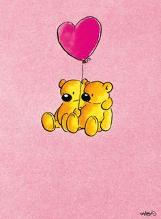 Beertjes hangend aan hartjesballon- Greetz Wrapping Presents, Cute Paintings, Happy Things, Paper Clip, Caricatures, Doodle Art, Smiley, Animals Beautiful, Pop Art
