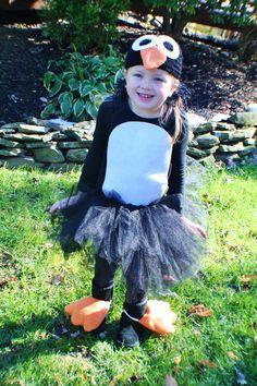 Inspiration for my penguin costume... Hat with penguin face, black tee with white belly, black leggings, black & white tu-tu & orange felt for the feet?