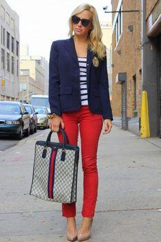 Vintage Gucci bag - Rich & Skinny jeans - Ralph Lauren blazer