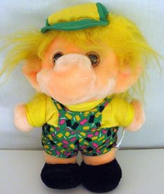 1992 Yellow Haired Plush Troll With Hat And Overalls From Trolio Trolls #Trolio…