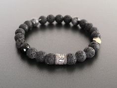 Silver OHM Black Stone Bracelet, Black Lava Rock, Pyrite, Onyx, Larvikite Meditation Bracelet, Natural Stone Stretch Yoga Balance  Bracelet.