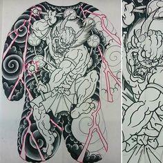 "Rob steele on Instagram: ""#workinprogress on this #raijin full #backpiece #design #art #drawing #sketch #wip #japanesetattoo #japaneseart #Japanese #God #thunder…"""
