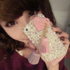$4.3 rhinestone pearl iphone case love tassels the L255 iphone4 4s3GS mobile beauty diy kits-ZZKKO