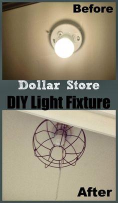 DIY Dollar Store 'Industrial' Light Fixture Using Two Garden Baskets! #lightfixture #lights #diylight www.twoityourself.com
