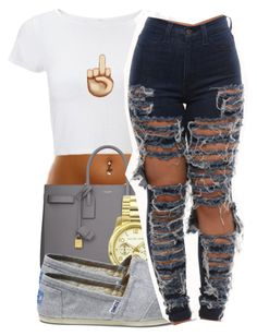 """""""Untitled #1488"""" by ayline-somindless4rayray ❤ liked on Polyvore featuring Yves Saint Laurent, Michael Kors and TOMS"""
