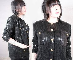 "80s Sequin Shirt JACKET OVERSIZED Vintage Bling Black BLAZER Glam Rock Woman Mens ""St Martin"" Structured Shoulders Gold Button Up Blouse Top by HarlowGirls on Etsy"