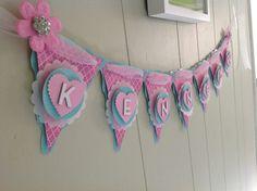 Girl Baby Shower Banner, Pink Baby Shower, Birthday Banner, Girl Name Banner, Custom Banner - Made to Order