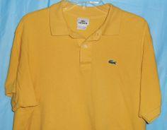 LACOSTE Men Sz 7 (XL) Polo Shirt Mustard Yellow with Alligator Logo-Short Sleeve