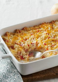 Cheesy Hashbrown Casserole – This cheesy, bacon-y hash brown casserole is a super side dish for any time of the day!