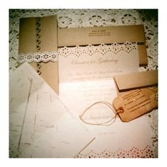 DIY Vintage Inspired Wedding Invitation - martha stewart edge punch and glue this white invite onto silver cardstock and the silver onto white cardstock