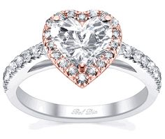 Heart Shaped Halo Ring Rose Gold