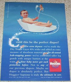 Huggies Supreme 1998 Stopping Power, Diapers, Supreme, Ads, Retro, Rustic, Diaper Liners, Mid Century, Baby Burp Rags