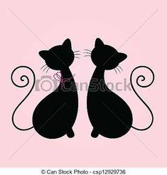 Resultado de imagen para siluetas dibujos simples gatitos
