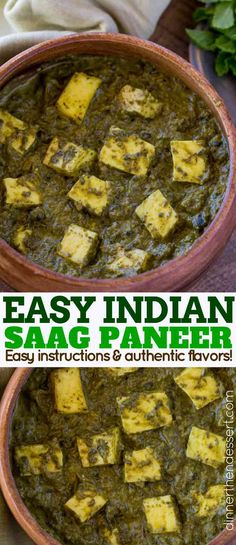 Saag Paneer is a classic Indian curry spinach recipe with paneer cubes which are stewed together until thick and creamy with coconut milk. | #indianfood #indianrecipes #saagpaneer #paneer #dinnerthendessert #easyindianrecipes #vegetarian
