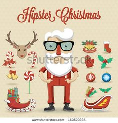 Hipster Santa Claus character illustration - stock vector