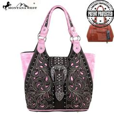 Montana West Concealed Handgun Collection Handbag Coffee and Pink. Vegan Leather. Silver Floral Longhorn Belt Buckle. Concealed Carry. Cut our floral. Metal Feet.