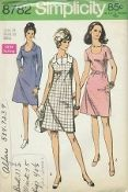An unused original ca. 1970 Simplicity Pattern 8782.  Dress with back zipper and low round neckline may be worn with a self fabric belt or a purchased belt. Views 1 and 3 have two piece collar. Top stitched view 1 has long set in sleeves. Collarless view 2 has short set in sleeves. Sleeveless view 3 features contrasting collar and vestee with button trim.