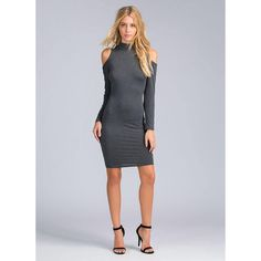 Feel The Ruche Cold Shoulder Dress CHARCOAL ($20) ❤ liked on Polyvore featuring grey, open shoulder dress, long sleeve ruched dress, charcoal grey dress, cutout dress and stretchy dresses