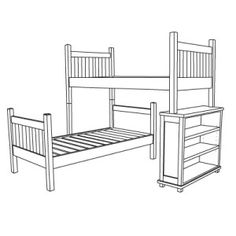 L-shaped bunk bed with bookcase