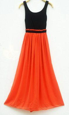 Sleeveless Elastic Waist Color Block Casual Maxi Dress  Printed Maxi Dress