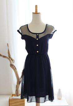 PETIT DEJEUNER - BLEU Black Lace Illusion Neckline Vintage Inspired Navy Blue Chiffon Dress with Gold Buttons