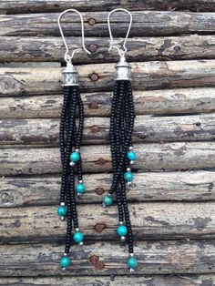Black and Turquoise beaded Earrings, Tassel Earrings, Long Dangly Earrings, Boho Earrings, Fringe Earrings, Seed Bead Earrings - pinned by pin4etsy.com