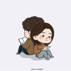 #goblin #korean #kdrama #koreandrama #grimreaper #euntak #deokhwa #cute #animated #drawing #chibi #book #read