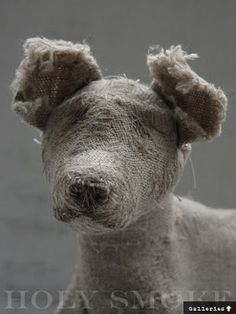 I could never be accused of being a dog lover but I do love these linen dogs by Holy Smoke Textile Sculpture, Textile Fiber Art, Textile Artists, Soft Sculpture, Fabric Animals, Lurcher, Funky Art, Textiles, Soft Dolls