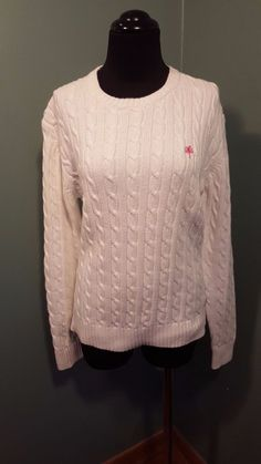 Lilly Pulitzer 100% Cotton White Cable Knit Heavy Crewneck Spring Sweater L Euc #LillyPulitzer #Crewneck #daystarfashions $19.99