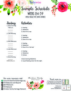 Weeks - Babywise Sample Schedules help parents 'begin as you mean to go'. Julie Young, Baby Wise, Baby Growth, Sleep Schedule, Christian Families, Baby Sleep, Parents, Printables, Activities