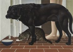 Dog and Cat by Alex Colville on Curiator, the world's biggest collaborative art collection. Alex Colville, Art Haus, Cat Whisperer, F2 Savannah Cat, Digital Museum, Red Cat, Collaborative Art, Canadian Artists, Large Dogs