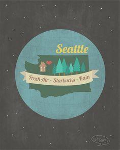 Seattle Washington  Wall Art Home Decor Earth Stars by heygokey, $16.00