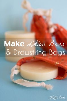 How to Make Lotion Bars and How to Sew Drawstring Bags DIY+ Sewing Tutorial = Great gift! Make homemade lotion bars and cute drawstring bags to store them in! Diy Lotion, Lotion Bars, Drawstring Bag Diy, Diy Cosmetic, Savon Soap, Homemade Soap Recipes, Homemade Scrub, Homemade Beauty Products, Facial Products