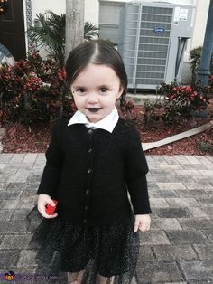 Racheal: My 2 year old daughter Arabella About a month ago a family member told us that she looks just like Wednesday Adams from the Adams Family movie I just purchased...
