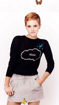 Emma Watson, black t-shirt, short hair, 720x1280 wallpaper <br> Emma Watson Short Hair, Emma Watson Fan, Ema Watson, Emma Watson Style, Emma Love, Emma Watson Beautiful, Emma Watson Sexiest, My Emma, Celebrity Short Hair