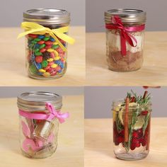 Plans of Woodworking Diy Projects - 4 Quick and Easy Mason Jar Gifts Get A Lifetime Of Project Ideas & Inspiration! Pot Mason Diy, Mason Jar Gifts, Diy Crafts With Mason Jars, Gift Jars, Mason Jar Lamp, Diy Christmas Gifts Videos, Christmas Crafts, Cheap Christmas, Christmas Presents